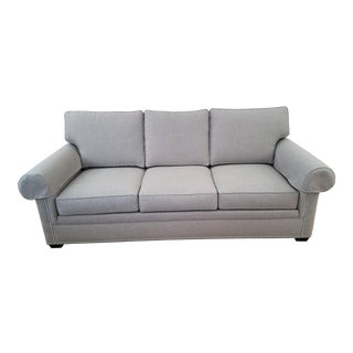 Contemporary Ethan Allen Conor 87 Inch Mack Gray Sofa For Sale