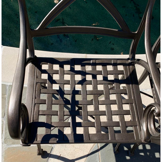 Transitional Woodard Landgrave Cast Classics Landgrave Patio Porch Outdoor Dining Chairs - Set of 4 For Sale - Image 3 of 9