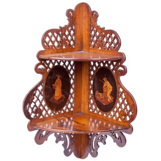 19th Century Mahogany Corner Bracket With Inlaid Vignettes For Sale