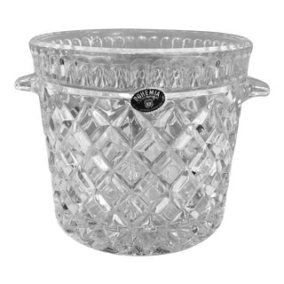 Vintage Lead Crystal Bohemia Ice Bucket With Handles For Sale