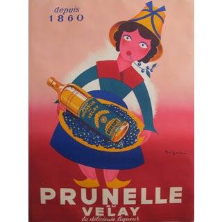 1950's Vintage Original French Alcohol Poster, Prunelle Du Velay For Sale