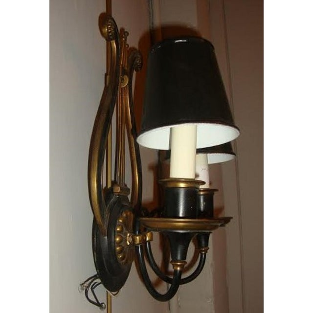 Harp-Form Wall Sconces - A Pair - Image 5 of 7