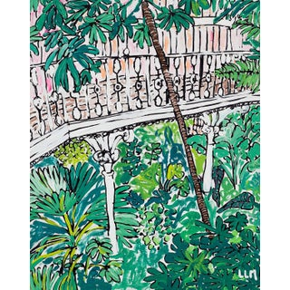 Ode to Kew, Botanical Garden Jungle Painting With Creeping Sunrise For Sale