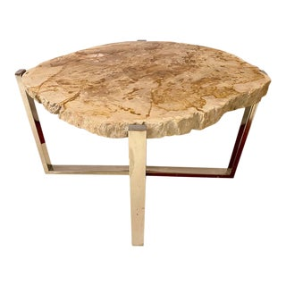 Mid-Century Modern Style End or Side Table Chrome Based Stone Top For Sale