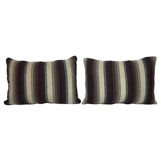 Repurposed Wool Blanket Lumbar Pillows - A Pair