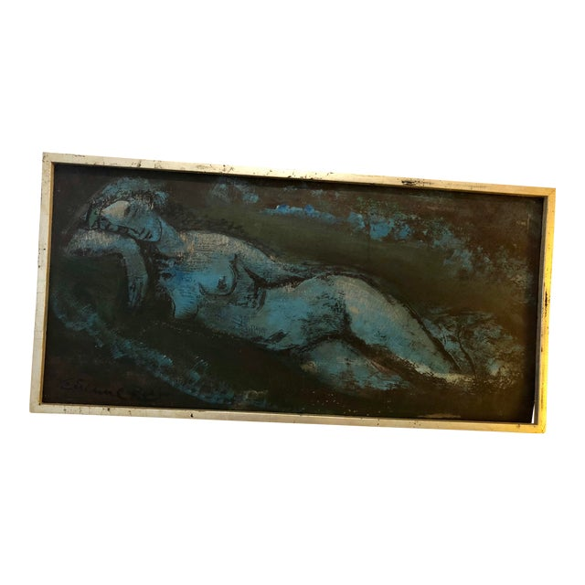 Vintage Mid-Century Blue Reclining Nude Oil Painting by Etienne Ret For Sale