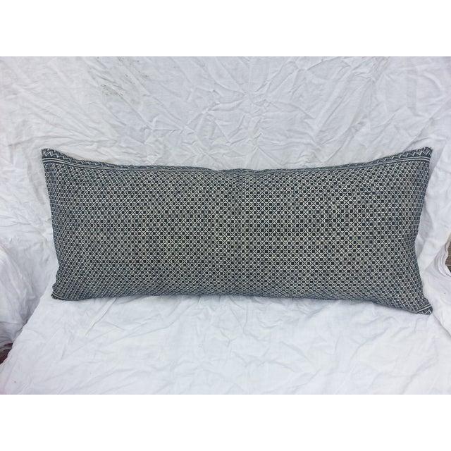 Tibal Indigo Embroidered Lumbar Pillow - Image 2 of 5