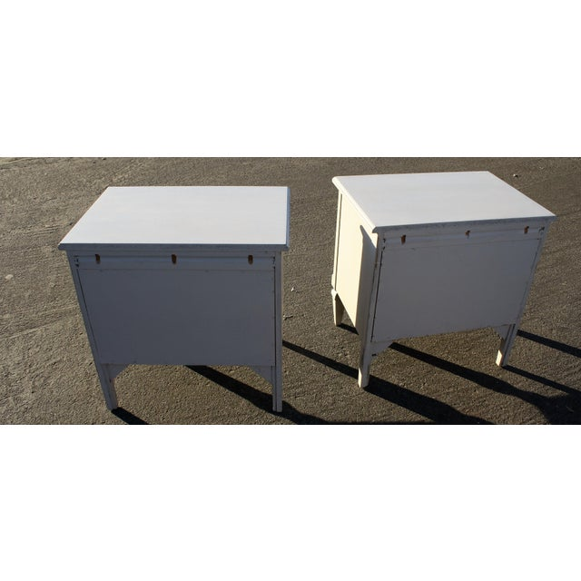 Gray Painted Wooden Nightstands - A Pair - Image 6 of 6