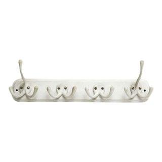 White Vintage Porcelain Bar Hook Rack For Sale