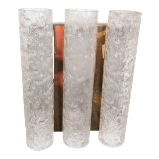 Doria Sconce with Trio of Textured Glass Cylinder Prisms For Sale