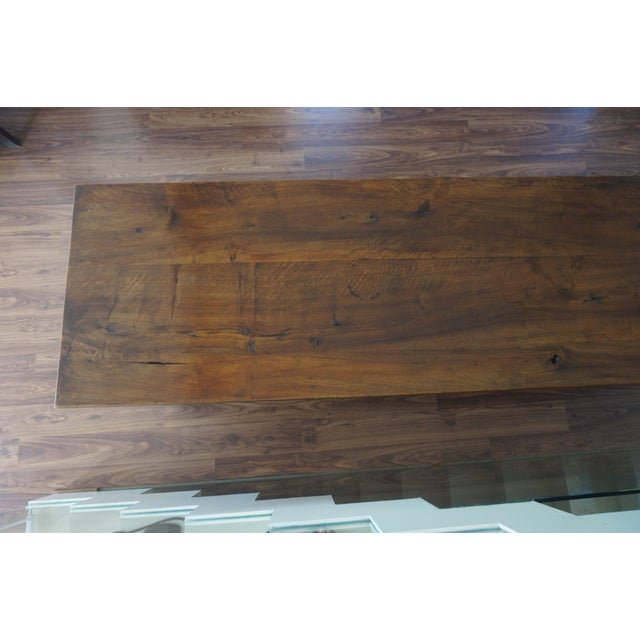 Large 19th Century Spanish Refectory Walnut Farm Table or Console For Sale - Image 9 of 11