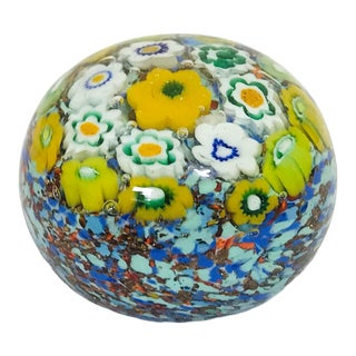 Vintage Italian Millefiori Glass Paper Weight For Sale