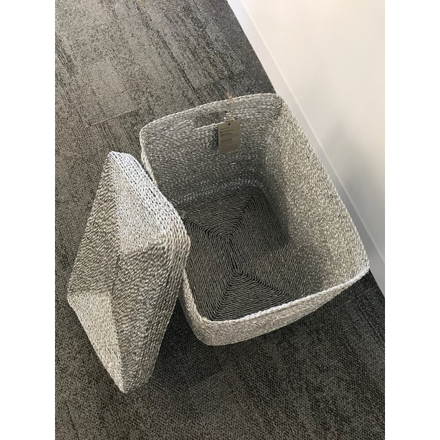 Silver Gray Woven Oversize Basket - Image 4 of 6