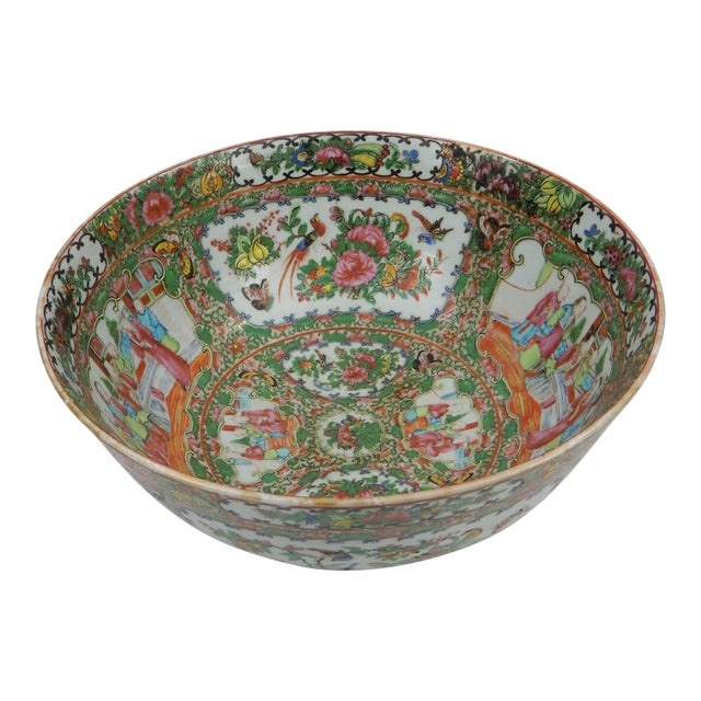 Antique Chinese Export Rose Medallion Serving Bowl For Sale