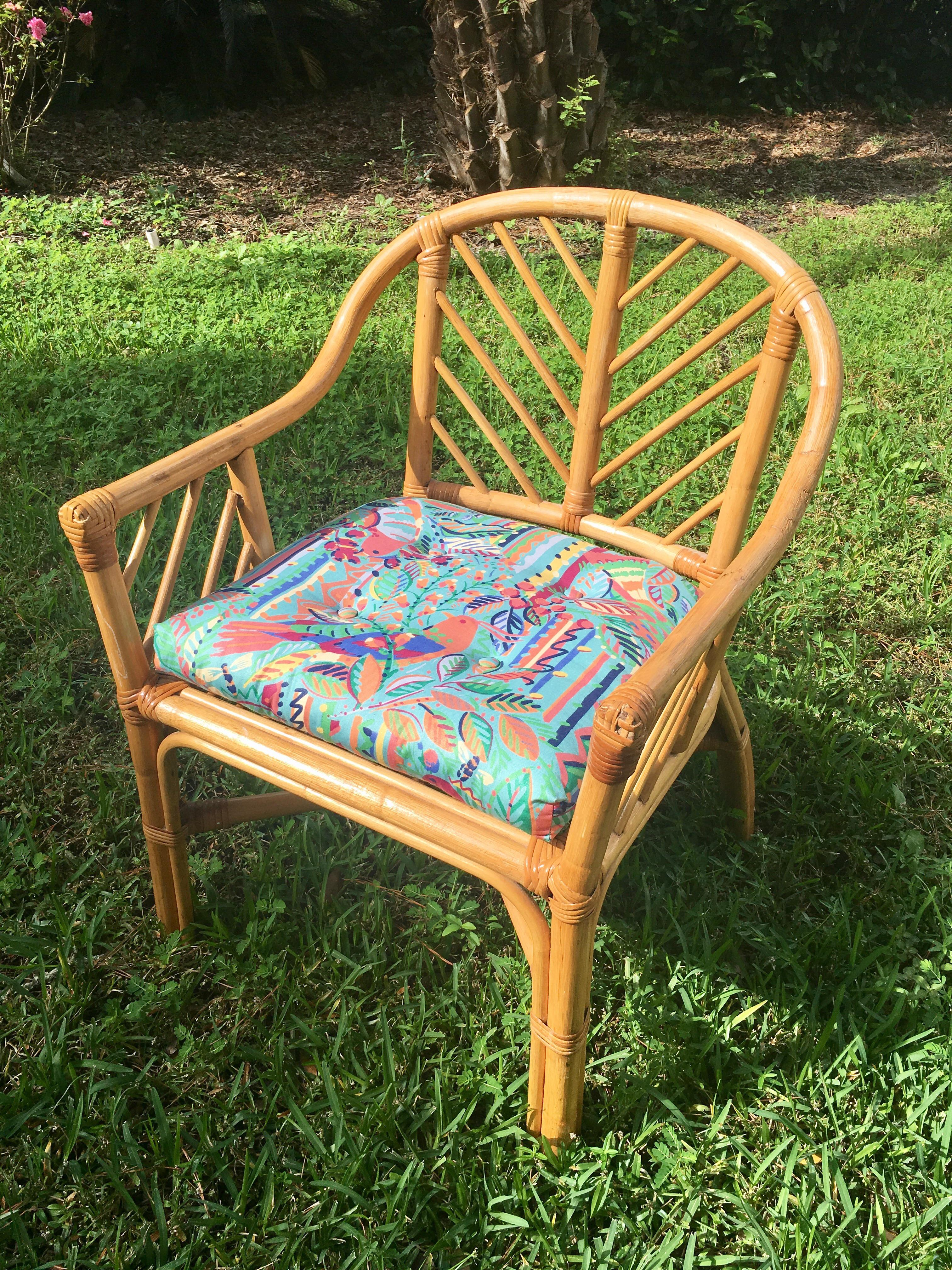 Vintage Bamboo Rattan Chippendale Club Chair   Image 7 Of 10