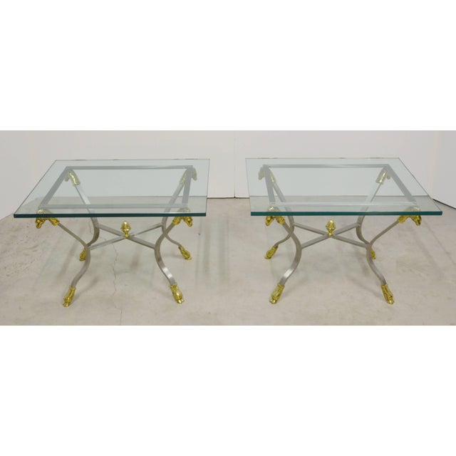 Brass Pair of Steel, Brass and Glass Side Tables For Sale - Image 7 of 11