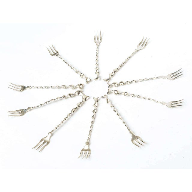 "Metal Set of Ten Hallmarked Sterling Silver ""Twist and Ball"" Cocktail or Serving Forks For Sale - Image 7 of 7"