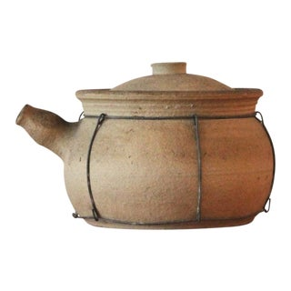 20th Century Japanese Tan Stoneware Cooking Pot - Medium For Sale