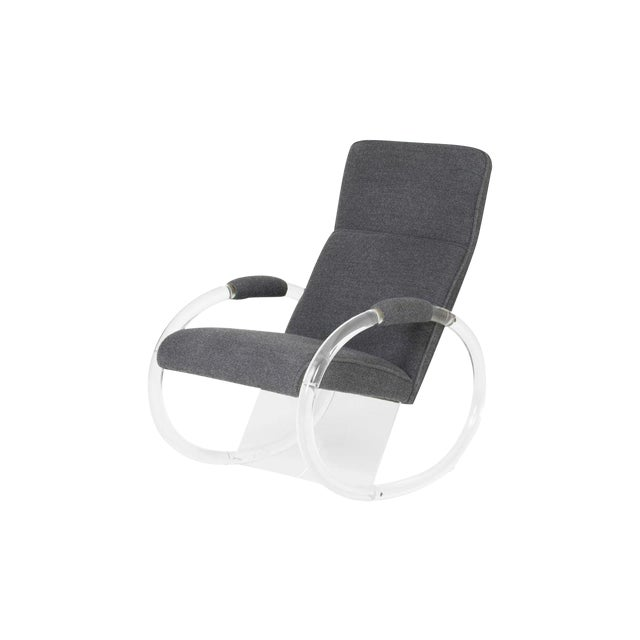 1970's Charles Hollis Jones Aka Mr. Lucite, Steel Gray Alpaca Upholstered Rocker For Sale