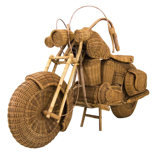 1960s Lifesize Woven Rattan Motorcycle For Sale - Image 9 of 9