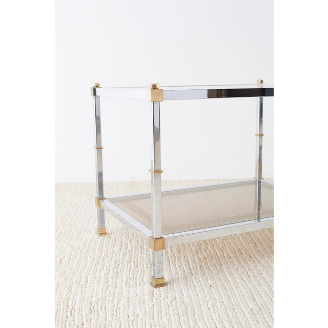 Hollywood Regency Pair of Maison Jansen Style Chrome and Brass Tables For Sale - Image 3 of 13