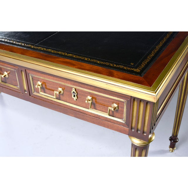 Louis XVI Style Mahogany Writing Desk With Brass Mounts For Sale - Image 11 of 13