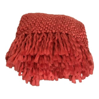 Hand Woven Dark Coral Acrylic Throw For Sale