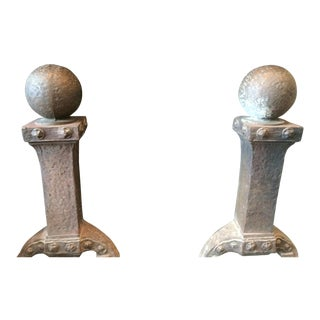 Vintage Arts & Crafts Style Andirons - a Pair For Sale