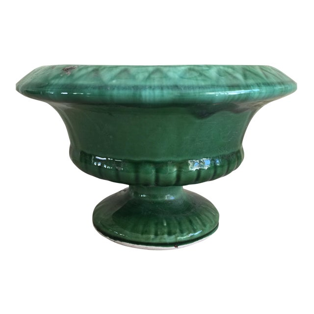Mid-Century Green Pottery Vessel - Image 1 of 7
