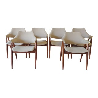 Vintage Modern Pierre Paulin for Thonet Bentwood Upholstered Dining Chairs - Set of 6 For Sale