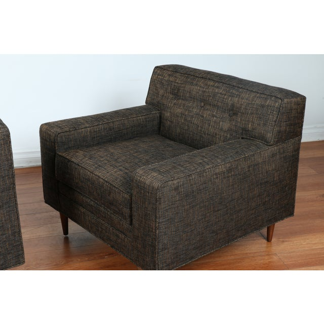 Gray Cubed Lounge Chairs- A Pair - Image 7 of 10