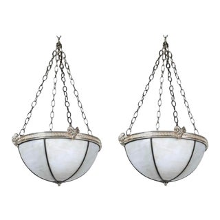 1920s Neoclassic Leaded Glass Light Fixtures - a Pair For Sale