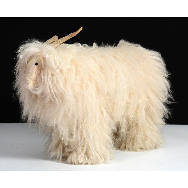 1960s Vintage Sheep or Mountain Goat With Natural Horns, Made by Hand Circa 1960s For Sale - Image 5 of 10