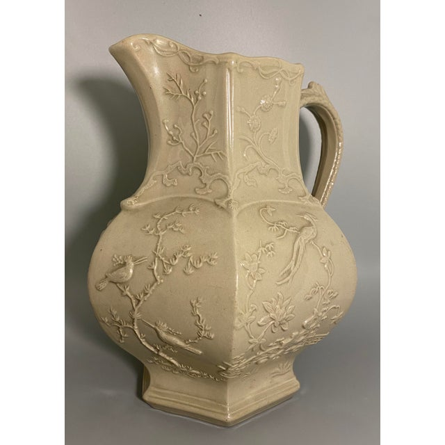 Chinoiserie Antique Irwin and Lane Chinoiserie Bas-Relief Mason's Ironstone Pitcher For Sale - Image 3 of 7