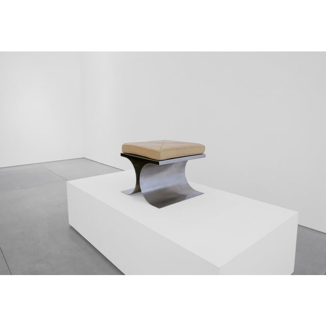 Silver Michel Boyer 'X' Stool, C. 1968 For Sale - Image 8 of 8