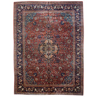 Antique Kashan Rug- 9' x 12' For Sale