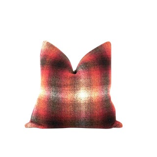 "Red Plaid Ombre Throw Pillow 22"" x 22"""