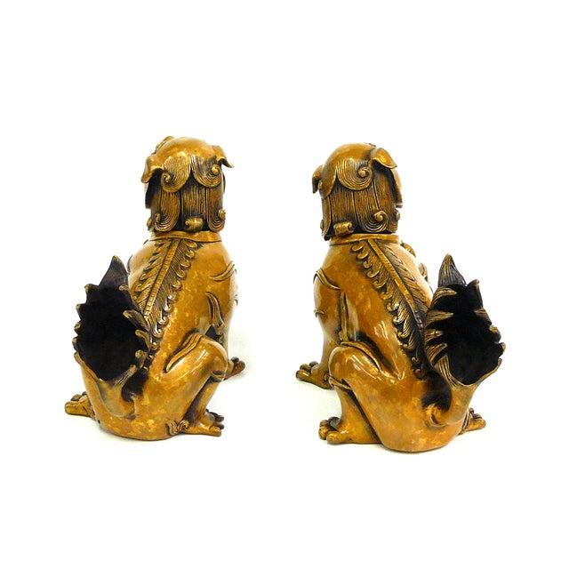 Fengshui Chinese Bronze Metal Foo Dogs - Pair - Image 4 of 6