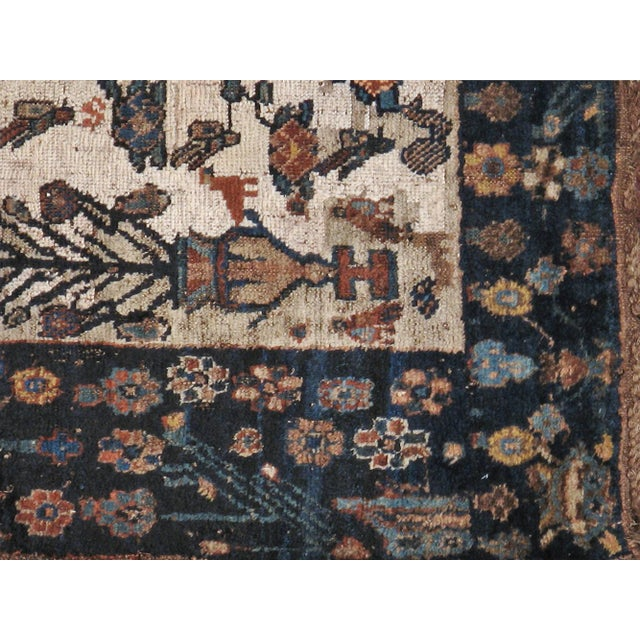 "Antique Persian Distressed Rug - 3'9"" X 4'3"" - Image 4 of 5"