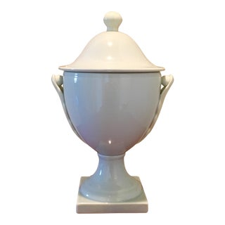 Global Views Pale Blue & Ivory Applied Leaf Pedestal Urn For Sale