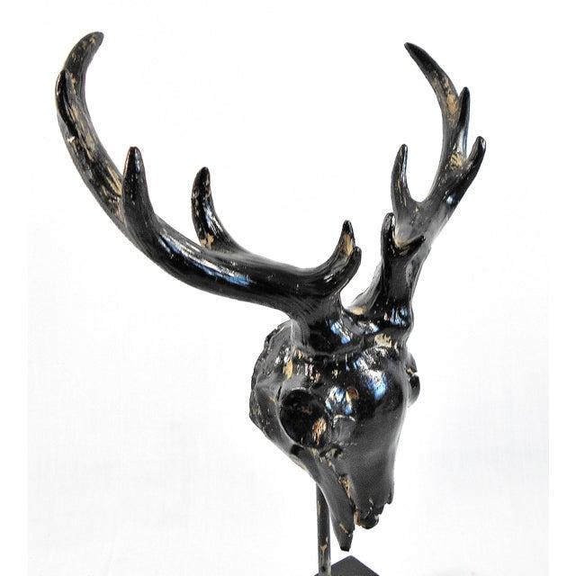 Ceramic Ebony Deer Skull on Pedestal Sculpture For Sale - Image 7 of 11