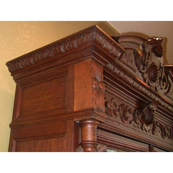 Early 19th Century French Provincial Highly Carved Oak Bookcase For Sale - Image 11 of 13