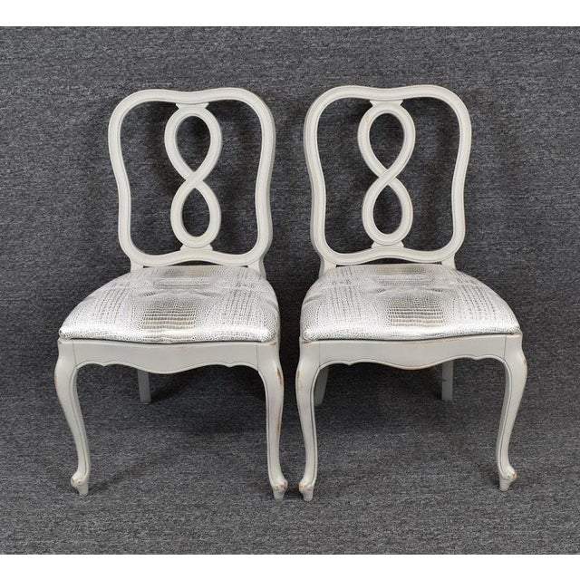 Set of Four French Country Louis XV Style Dining Chairs For Sale - Image 4 of 11