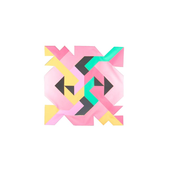 Bright Pink Geometric Hard Edge Painting by Sidney Guberman For Sale - Image 8 of 8