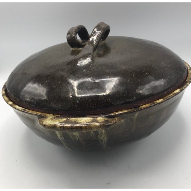 Hand Thrown Studio Pottery Drip Glaze Covered Casserole For Sale In New York - Image 6 of 8