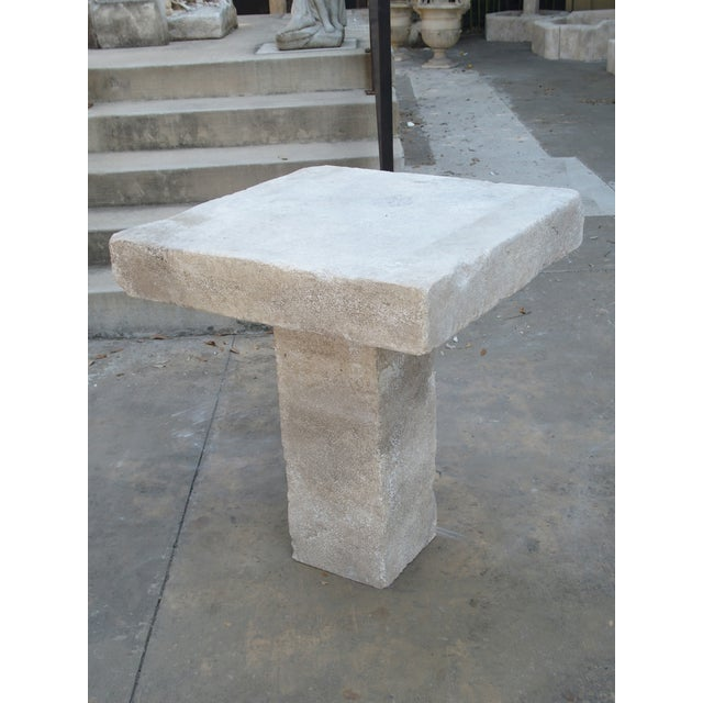 Stone Carved Square Top French Limestone Bistro Table For Sale - Image 7 of 12