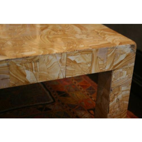 Metal 1970s French Cocktail Table Made From Petrified Wood For Sale - Image 7 of 10