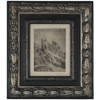 Johannes Fischer Original Vienna Secessionist Signed Etching, Abstracted Landscape, 1920s Circa 1920 For Sale
