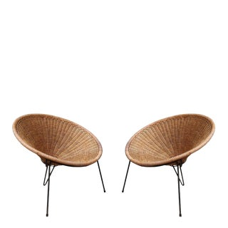 A Pair of Rattan Armchairs, Italy 1950
