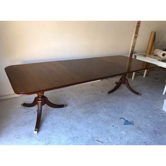 1990s Thomasville Dining Table Fruitwood 112 X 45 Excellent For Sale - Image 5 of 12